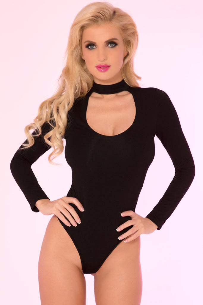 Pink Lipstick Lingerie 20008-BLK Choker Plunge Long Sleeve Bodysuit-Front view