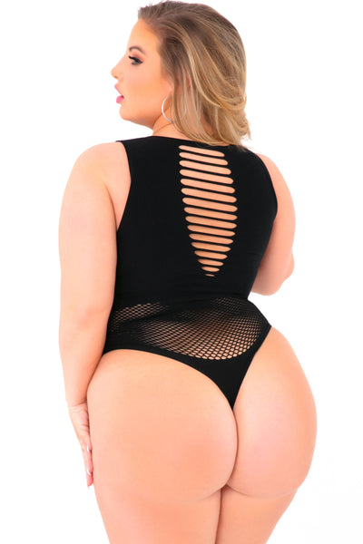20014X-BLK - Low Blow Seamless Bodysuit with Cutouts - Pink Lipstick Lingerie - Back View