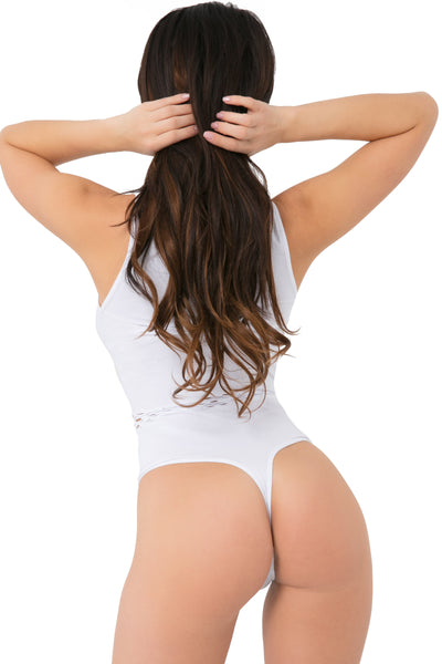 20023-WHT - Femenizer Seamless Bodysuit with Front Cutouts - Pink Lipstick Lingerie - Back View