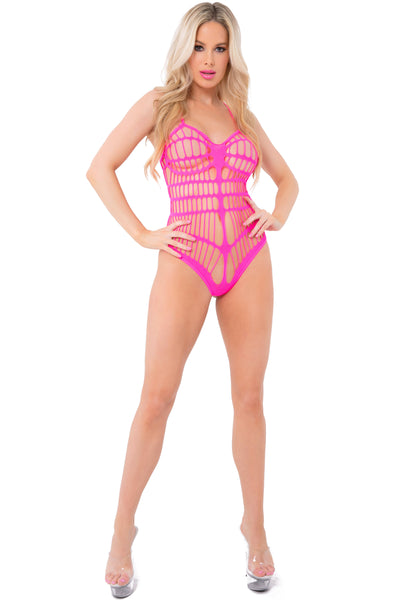 20028-PNK - Max Out See Through Bodysuit - Pink Lipstick Lingerie - Front View