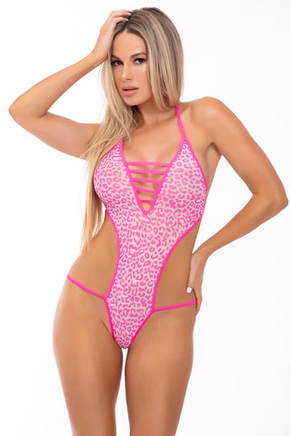 V Is For Vixen Bodysuit - Pink Lipstick Lingerie
