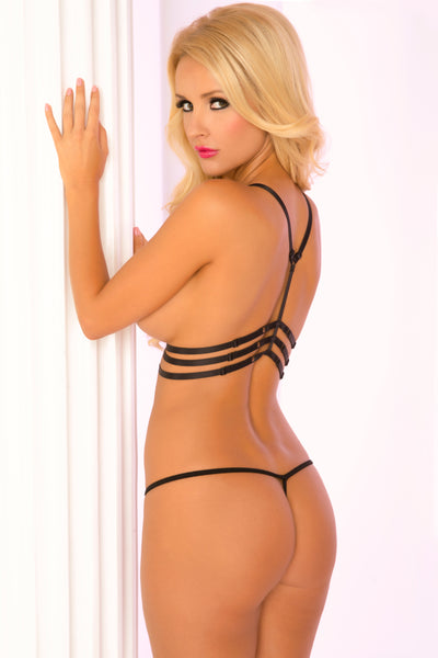 2pc Triple Cage Harness & G-String Set - Pink Lipstick Lingerie