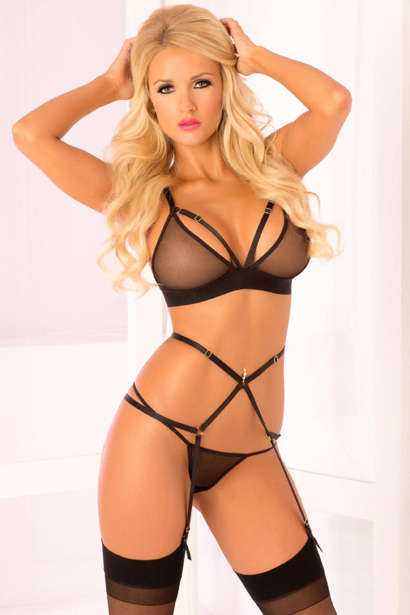 Pink Lipstick lingerie 23048-BLK 3 Piece Straps and Mesh Bra and G String Set with Garter Belt-front view