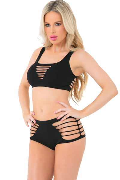 23062-BLK - Slash N' Dash Seamless Bra Set with Cutouts - Pink Lipstick Lingerie - Front View