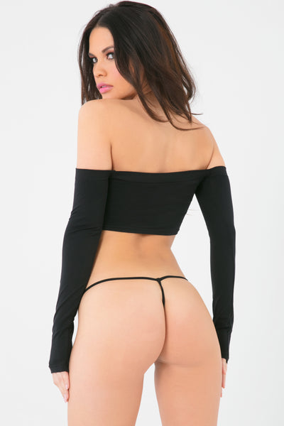 23064-BLK - Down The Tube 2pc Seamless Tube Top & G-String Set - Pink Lipstick Lingerie - Back View