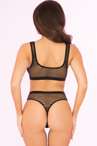 23066-BLK - Clothing Optional 2pc Bra And Panty Set - Pink Lipstick Lingerie - Back View