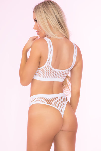 23066-WHT - Clothing Optional 2pc Bra And Panty Set - Pink Lipstick Lingerie - Back View