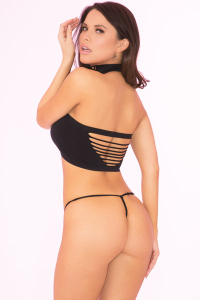 23067-BLK - Unedited 3pc Choker Collar, Slashed Bra and Panty Set - Pink Lipstick Lingerie - Back View