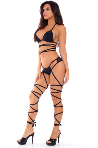 23069-BLK - Laced Up Lover 2pc Strappy Bra & Panty Set - Pink Lipstick Lingerie - Front View