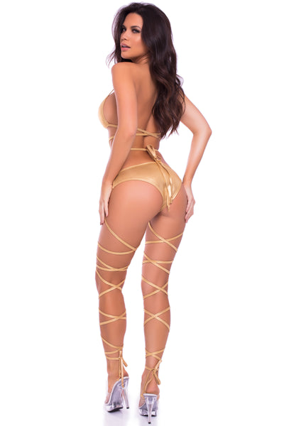 Laced Up Lover Metallic 2pc Strappy Bra & Panty Set - Pink Lipstick Lingerie