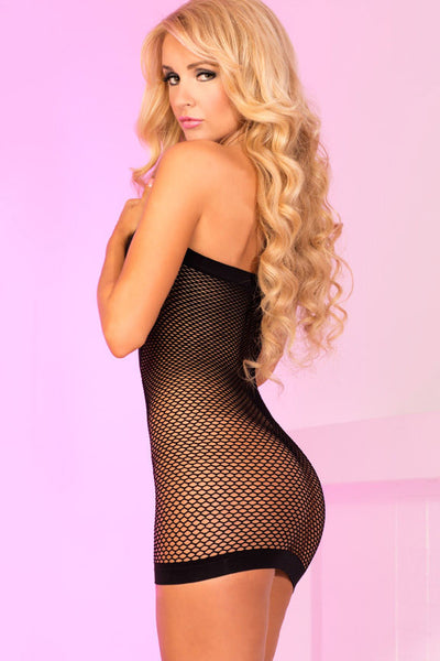 Pink Lipstick Lingerie 25001-BLK Play With Me V-Plunge Fishnet Dress-Back view