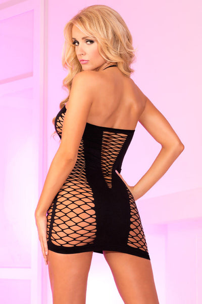 Seamless V-Plunge Dress with Industrial Net Insets