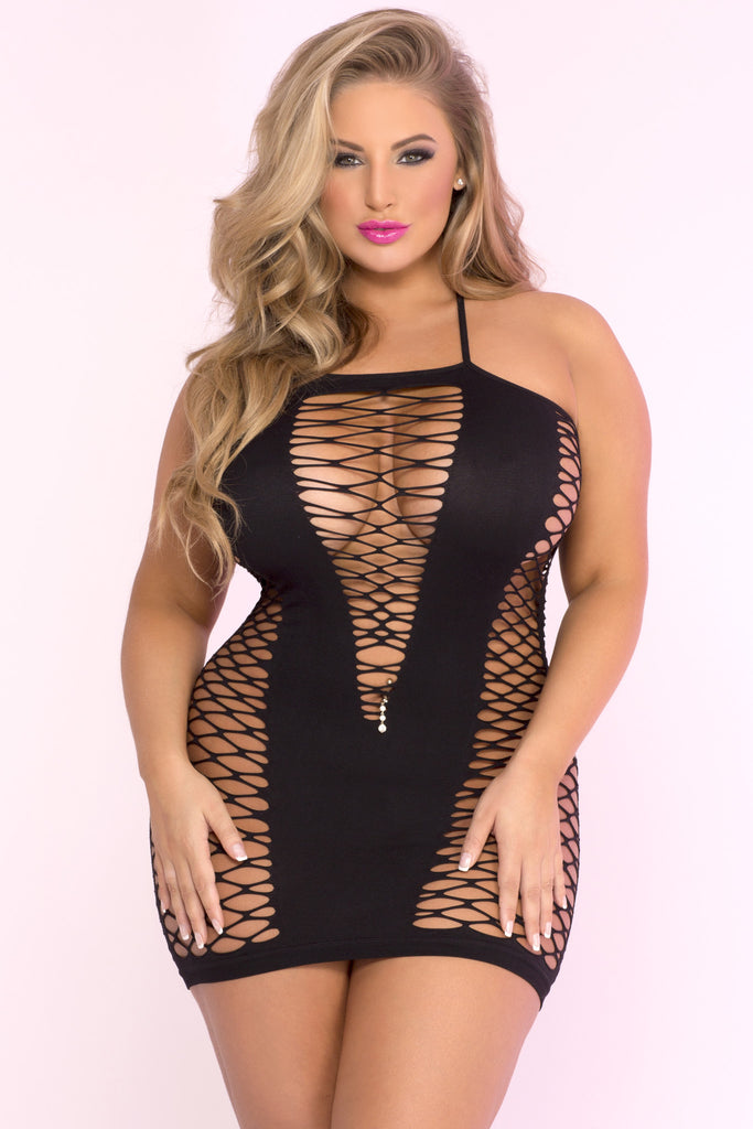 Pink Lipstick Lingerie 25010X-BLK Seamless V-Plunge Side Net Dress Plus Size-Front view