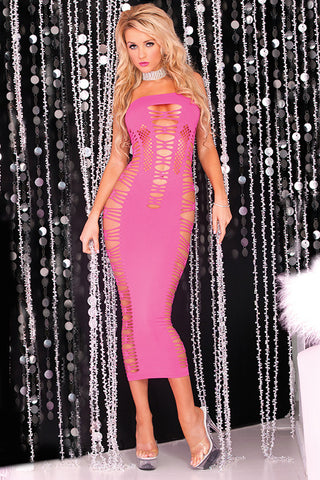 Pink Lipstick lingerie 25012-PNK Big Spender Seamless Maxi Tube Dress-Front view
