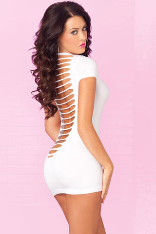 Pink Lipstick Lingerie 25051-WHT Party In The Back Mini Dress with Open Rear Cutouts-Back View