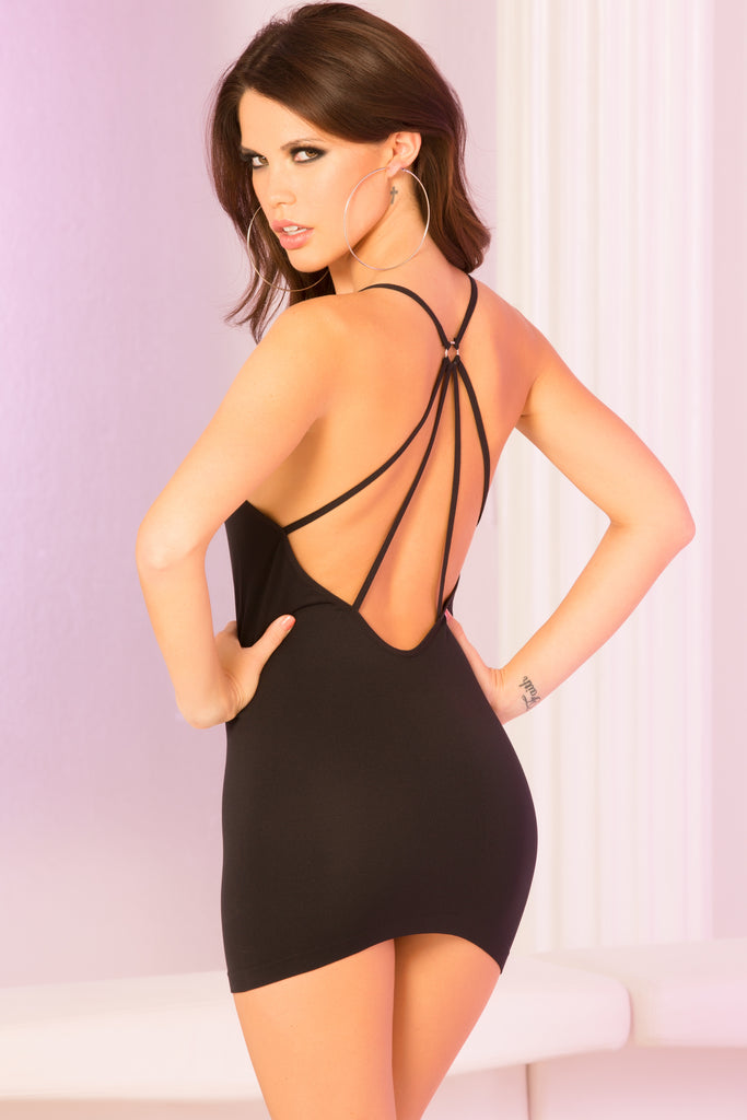 25061-BLK - Spider-Back Seamless Mini Dress - Pink Lipstick Lingerie - Main View