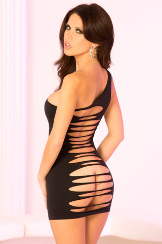 Pink Lipstick Lingerie 25065-BLK Slashed Halter Dress with Open Back-back View