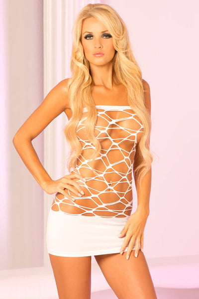 Pink Lipstick Lingerie 25067-WHT Web Of Seduction Seamless Geometric Cutout Tube Dress-Front View