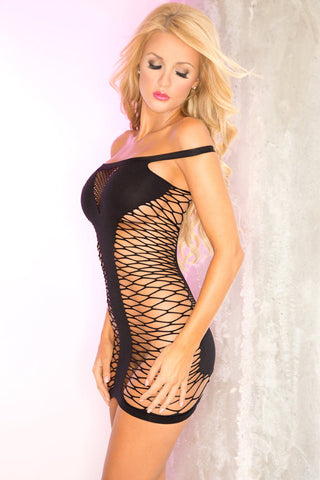 Pink Lipstick Lingerie 25074-BLK Tease To Please Seamless Industrial Net Dress-Front View