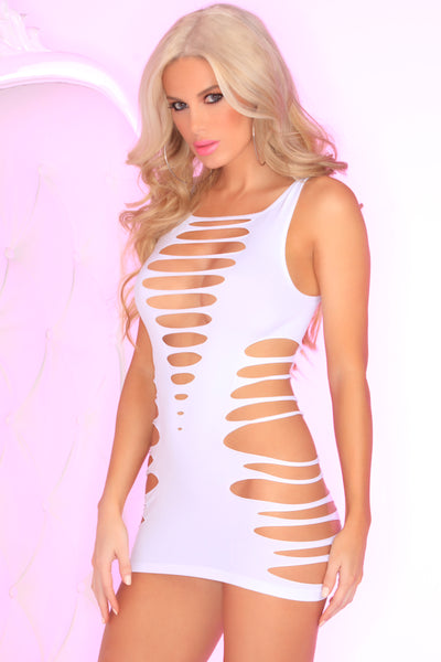 25084-WHT Slice N' Dice Seamless Dress Pink Lipstick Lingerie - front view