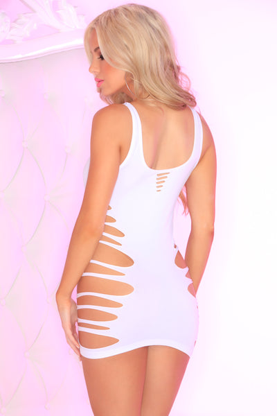 25084-WHT Slice N' Dice Seamless Dress Pink Lipstick Lingerie - back view