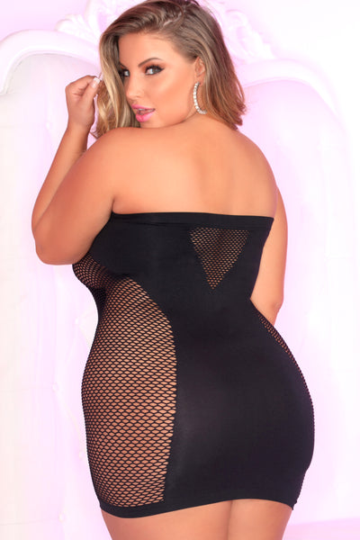 25090X-BLK Seamless Seduction Mini Dress Pink Lipstick Plus Size - back view
