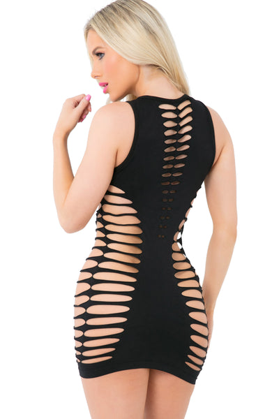 25093-BLK - Love Or Lust Seamless Slashed Dress - Pink Lipstick Lingerie - Back View