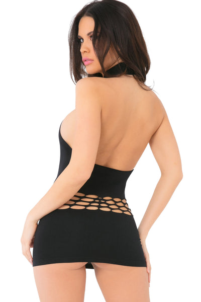 25094-BLK - Femenizer High Neck Swoop Slash Seamless Dress - Pink Lipstick Lingerie - Back View