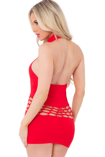 25094-RED - Femenizer High Neck Swoop Slash Seamless Dress - Pink Lipstick Lingerie - Back View
