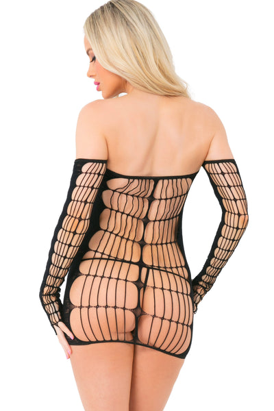 25095-BLK - Soul Mate Extreme Date See Through Mini Dress - Pink Lipstick Lingerie - Back View