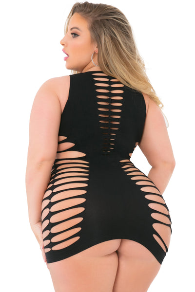 25096-BLK - Love Or Lust Seamless Slashed Dress - Pink Lipstick Plus - Back View