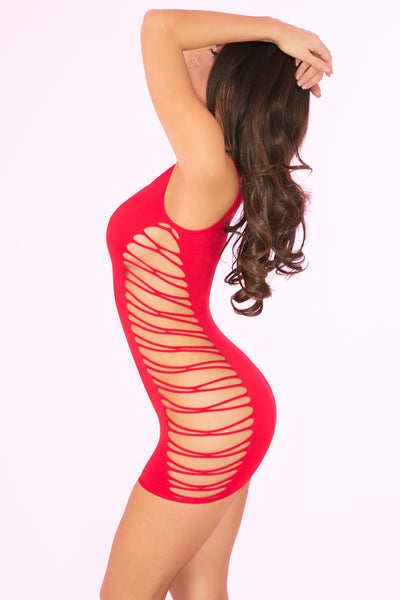 Rule Breaker Open Side Slashed Seamless Dress - Pink Lipstick Lingerie
