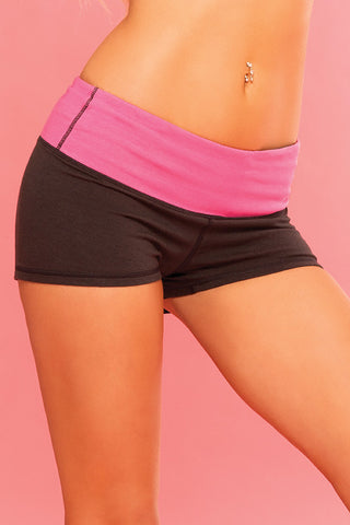 Pink Lipstick Lingerie 26013-BLK Strike A Pose Reversible Yoga Short-Front  view