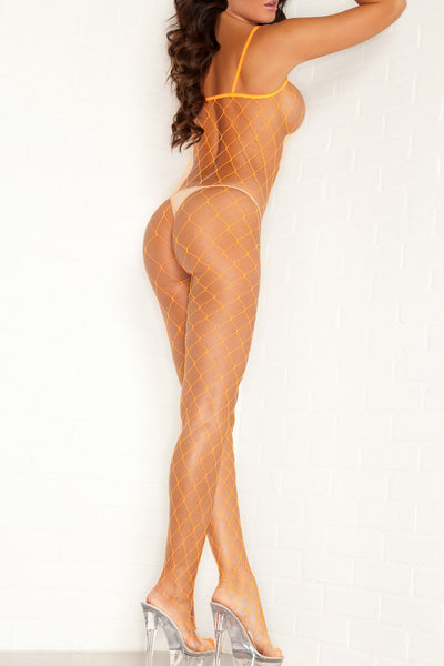 Pink Lipstick Lingerie 27009-ORG Halter Neck Crotchless Fence Net Bodystocking-Back view