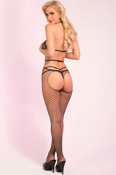 Pink Lipstick lingerie 27017-BLK To The Extreme Strappy Fishnet Bodystocking with Metal O-Ring-Back view