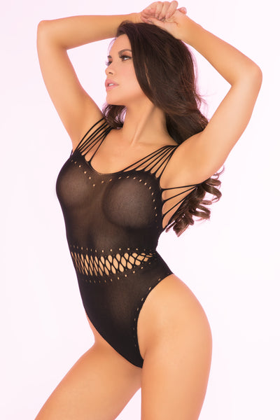 27020-BLK - All Access Pass Sheer Bodysuit - Pink Lipstick Lingerie - Side View