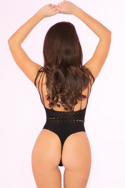 27020-BLK - All Access Pass Sheer Bodysuit - Pink Lipstick Lingerie - Back View