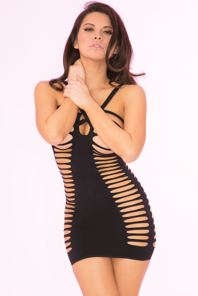 27021-BLK - Raw Cut Open Slit Mini Dress - Pink Lipstick Lingerie - Front View