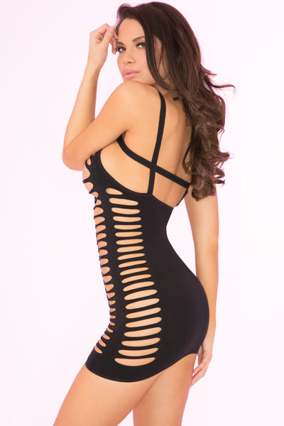 27021-BLK - Raw Cut Open Slit Mini Dress - Pink Lipstick Lingerie - Side View