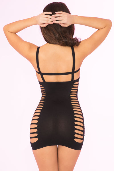 27021-BLK - Raw Cut Open Slit Mini Dress - Pink Lipstick Lingerie - Back View