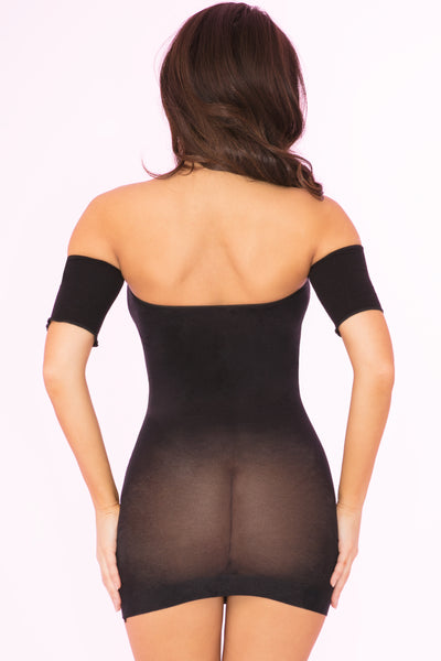 27022-BLK - All Night Wrong Sheer Dress - Pink Lipstick Lingerie - Back View