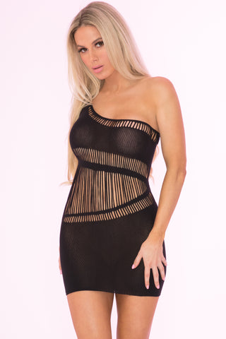 27023-BLK - Dare Ya One Shoulder Sheer Dress - Pink Lipstick Lingerie - Front View