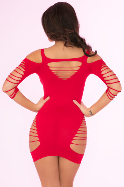 27026-RED - Back To Bad Seamless Dress - Pink Lipstick Lingerie - Back View