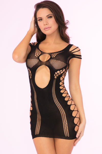 27028-BLK - Full Of Shred Sheer Mini Dress - Pink Lipstick Lingerie - Front View