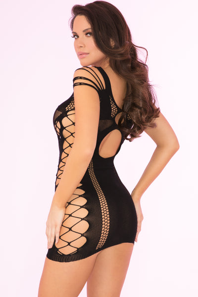 27028-BLK - Full Of Shred Sheer Mini Dress - Pink Lipstick Lingerie - Back View