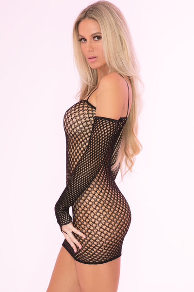27029-BLK - Bad Intentions Fishnet Mini Dress - Pink Lipstick Lingerie - Side View