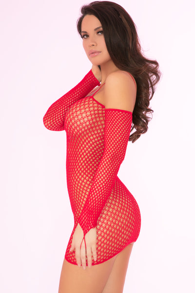 27029-RED - Bad Intentions Fishnet Mini Dress - Pink Lipstick Lingerie - Side View