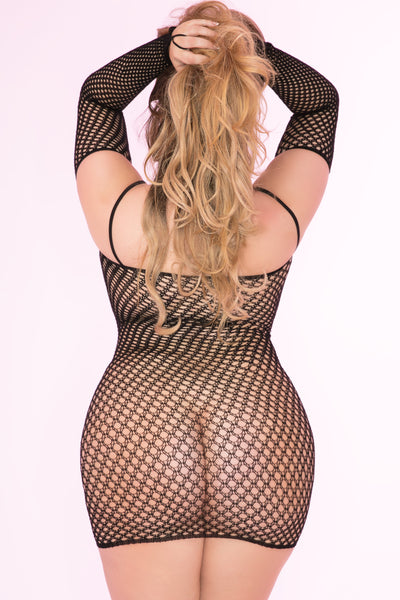 27029X-BLK - Bad Intentions Fishnet Mini Dress - Pink Lipstick Plus - Back View