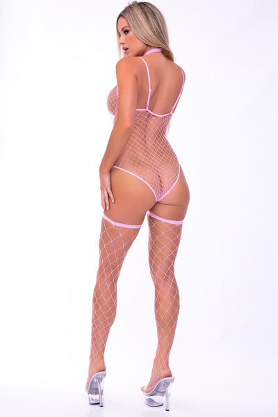 Choked Up 3pc Choker, Bodysuit and Thigh High Hosiery Set - Pink Lipstick Lingerie