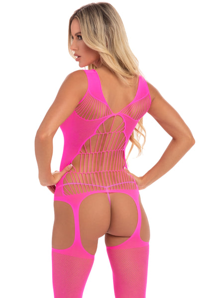 Flight Risk Fishnet Bodystocking - Pink Lipstick Lingerie